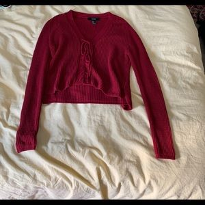 F21 cropped red sweater